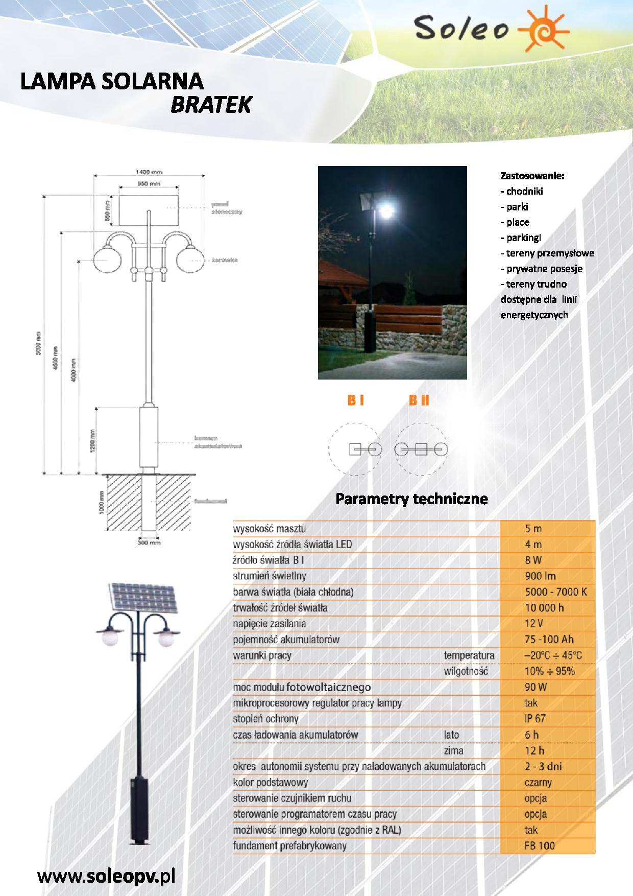 Lampa solarna Bratek