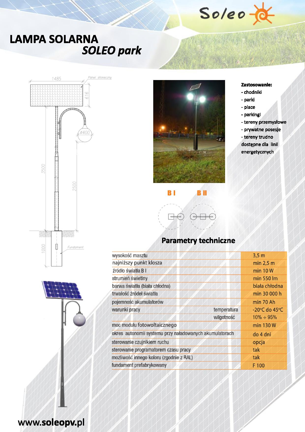 Lampa solarna Soleo Park